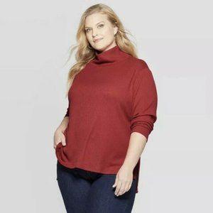 Ava & Viv Plus Size Mock Turtleneck Pullover, 2X